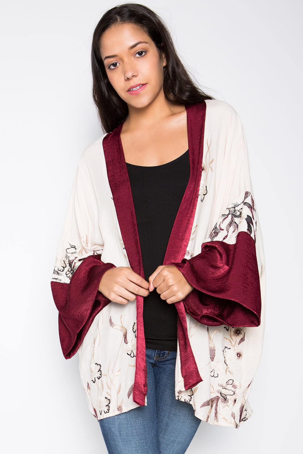 Embroidered Kimono With Silk Sleeves