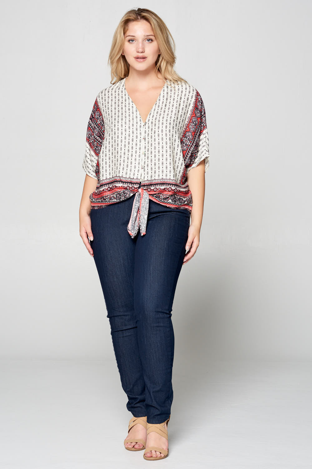 PRINT FRONT TIE BUTTON UP TOP - PLUS SIZE