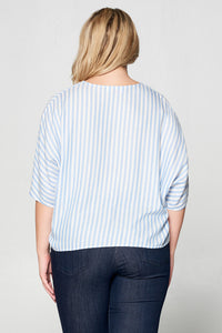 STRIPED FRONT TIE BUTTON DOWN TOP - PLUS SIZE