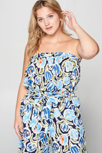 PRINT STRAPLESS JUMPSUIT - PLUS SIZE