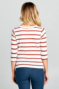 3/4 SLEEVE STRIPED FRONT KNOT TOP