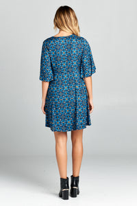 SHORT SLEEVE V-NECK PRINT DRESS