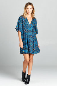 Floral Print Swing Dress with Bell Sleeves