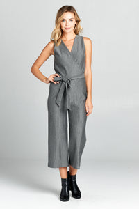 SLEEVELESS V-NECK JUMPSUIT WITH WAIST TIE