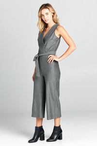 STRIPED V-NECK JUMPSUIT WITH WAIST TIE
