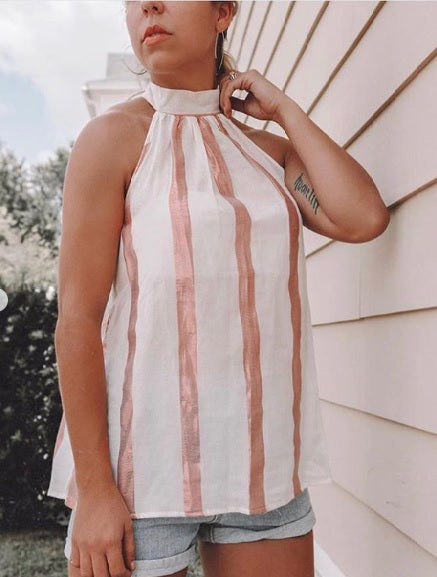 @the.style.aisle_ - Sleeveless High Neck Top with Metallic Stripes
