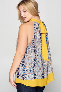PRINT HALTER TOP WITH BACK NECK TIE - PLUS SIZE