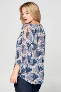 V-NECK OPEN SLEEVE PRINT TOP - PLUS SIZE