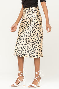 ABSTRACT ANIMAL PRINT SATIN MIDI SKIRT