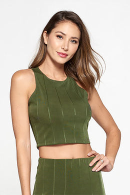 Olive Knit Crop Top with Striped Detail