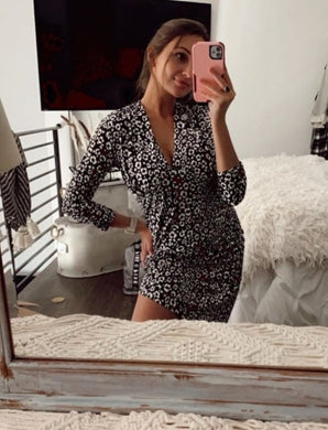 @mercedesbrooke - Leopard Print V-neck Dress with Scrunched Sleeves