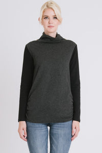 CONTRAST COWL NECK SWEATER