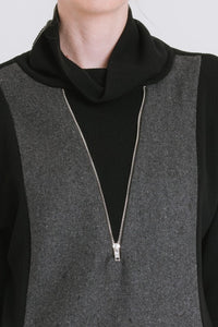 Cowl Neck Sweater With Zipper