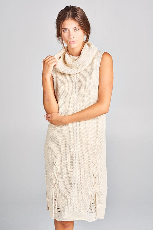 SOFT DISTRESSED COWL NECK SWEATER DRESS