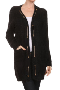 SOFT LONG CARDIGAN WITH GOLD TRIM