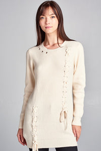 Sweater Dress with Eyelet and Lace Up Detail