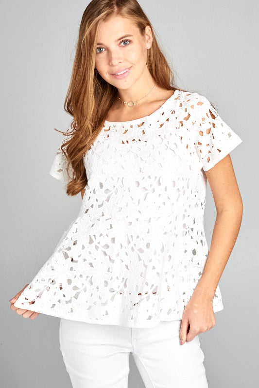 Preorder - Crochet Lace Short Sleeve Top