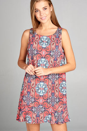 Tile Print Shift Dress with Ruffle Hem Detail