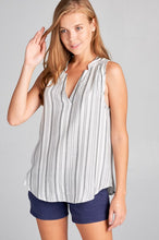 SLEEVELESS STRIPED V-NECK TOP