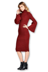 TURTLENECK SWEATER DRESS WITH BELL SLEEVE