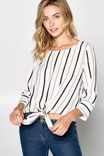 STRIPED TOP WITH FRONT TIE