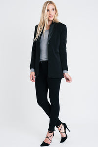 LONG SLEEVE BLAZER WITH PLEATHER COLLAR