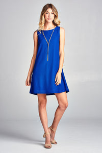 Women's Vivid Solid Sleeveless Mini Modern Short Dress