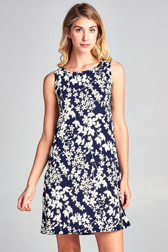 Women's Vivid Floral Print Sleeveless Mini Modern Short Dress