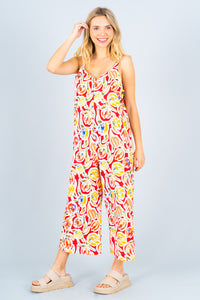 Sleeveless Thick Strap Print Jumpsuit