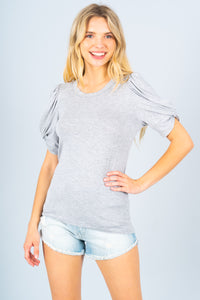 Solid Short Sleeve Knit Top with Scrunched Sleeves