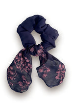 Navy Floral Embroidered Scrunchie