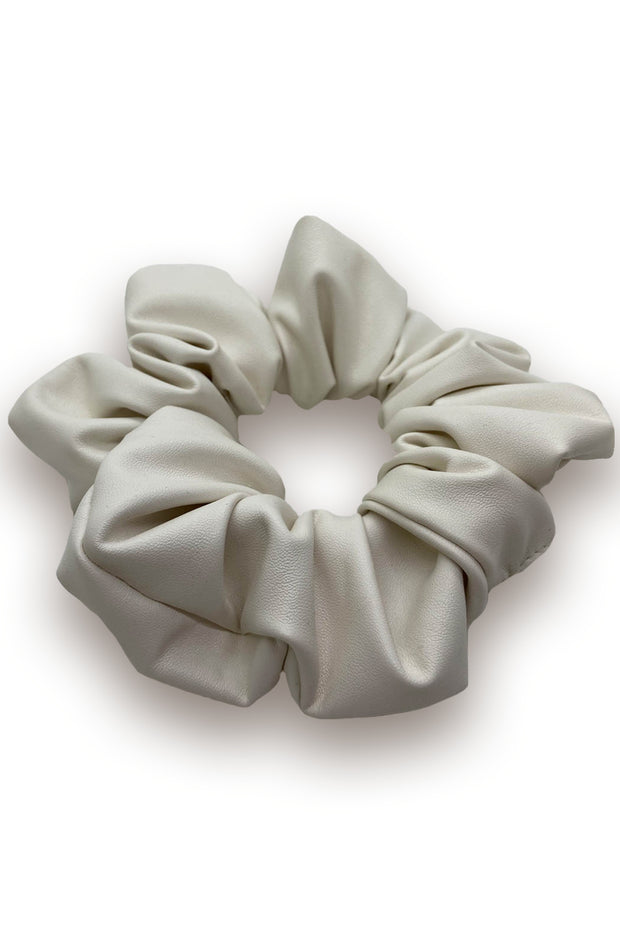Ivory Faux Leather Scrunchie
