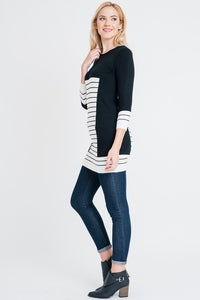 Striped Print Long Sleeve Tunic Top