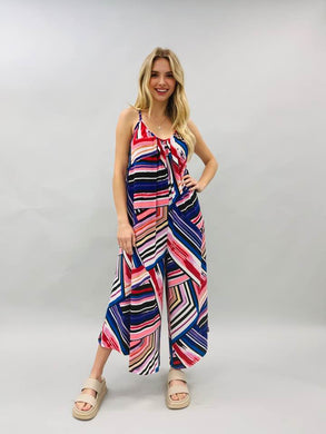 Abstract Chevron Print Jumpsuit