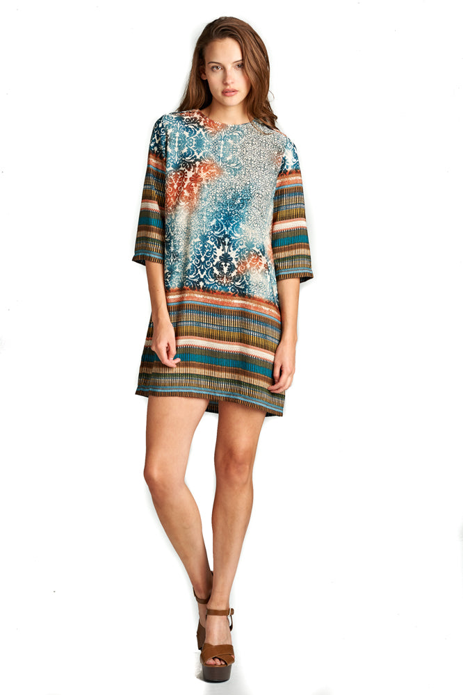 3/4 SLEEVE SHIRT DRESS WITH PRINT