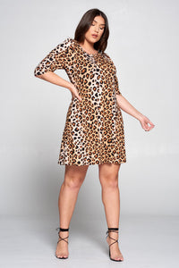 Leopard Swing Dress with Puff Sleeves
