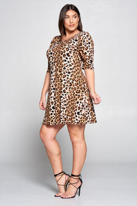 LEOPARD SWING DRESS WITH PUFF SLEEVES - PLUS SIZE