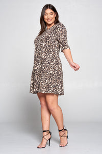 TAUPE LEOPARD SWING DRESS WITH PUFF SLEEVE - PLUS SIZE
