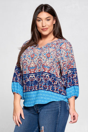 NAVY PAISLEY PRINT 3/4 SLEEVE TOP - PLUS SIZE