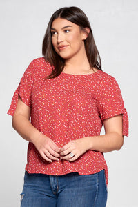 POLKA DOT SCOOP NECK TOP WITH SLEEVE TIE - PLUS SIZE