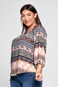 TAUPE PRINT 3/4 SLEEVE TOP - PLUS SIZE
