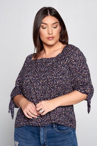 MULTI COLOR OFF THE SHOULDER TOP - PLUS SIZE