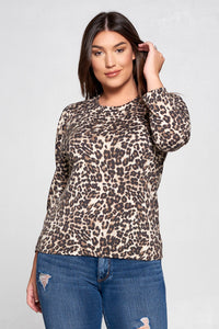 LEOPARD SCOOP NECK TOP WITH PUFF SLEEVE - PLUS SIZE