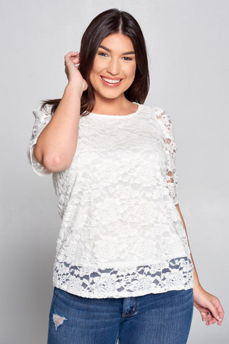 SCOOP NECK LACE SHORT SLEEVE TOP - PLUS SIZE