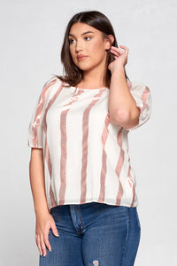 METALLIC STRIPED TOP WITH PUFF SLEEVE - PLUS SIZE