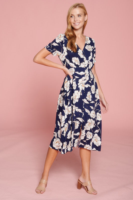 Floral Print Midi Dress With Button Detail