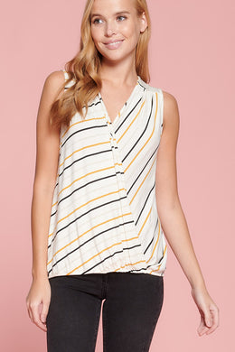 Striped Sleeveless Surplice Top