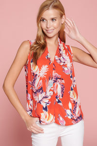 Tropical Print V Neck Sleeveless Top