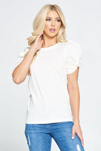 Solid Short Puff Sleeve Top with Knot