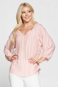 Striped 3/4 Sleeves V Neck Top